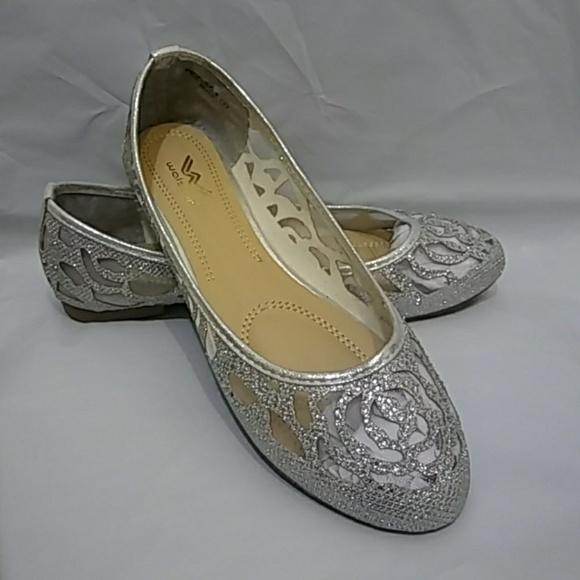 2e7ca8725 Women s Glitter Mesh Silver Slip On Flats